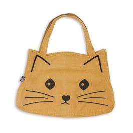 可愛貓咪復古刷色帆布包_芥末黃