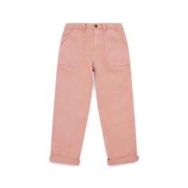 粉色大口袋直筒長褲