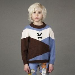 熊貓拼布針織毛衣