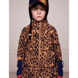 豹紋抓毛絨立領夾克