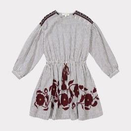 Ostrich 花朵刺繡條紋洋裝