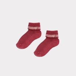 Baby 梅子色羅紋短襪