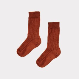 肉桂色羅紋中筒襪