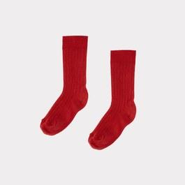 珊瑚紅羅紋中筒襪