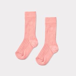 莓粉色羅紋中筒襪