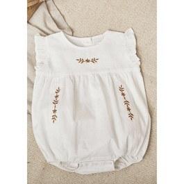 新生兒白色刺繡連身衣