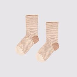 奶茶色條紋中筒襪