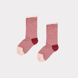 梅子色條紋中筒襪