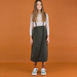 斜條紋吊帶中長裙