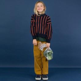 混羊毛撞色條紋針織毛衣(版型偏大)