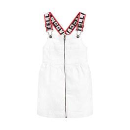 白色丹寧吊帶洋裝(版型偏大)